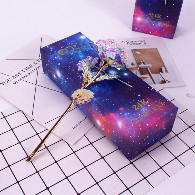 24 k feuille d'or plaqué Rose cadeaux fête faveurs dure toujours Rose pour le mariage des amoureux cadeaux de noël avec boîte au détail