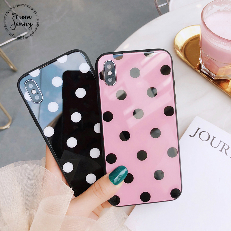From Jenny Polka dots Glass Phone Case for iphone X Smooth Mirror Pink words Hard Back Cover for iphone 7 8 6 6S Plus