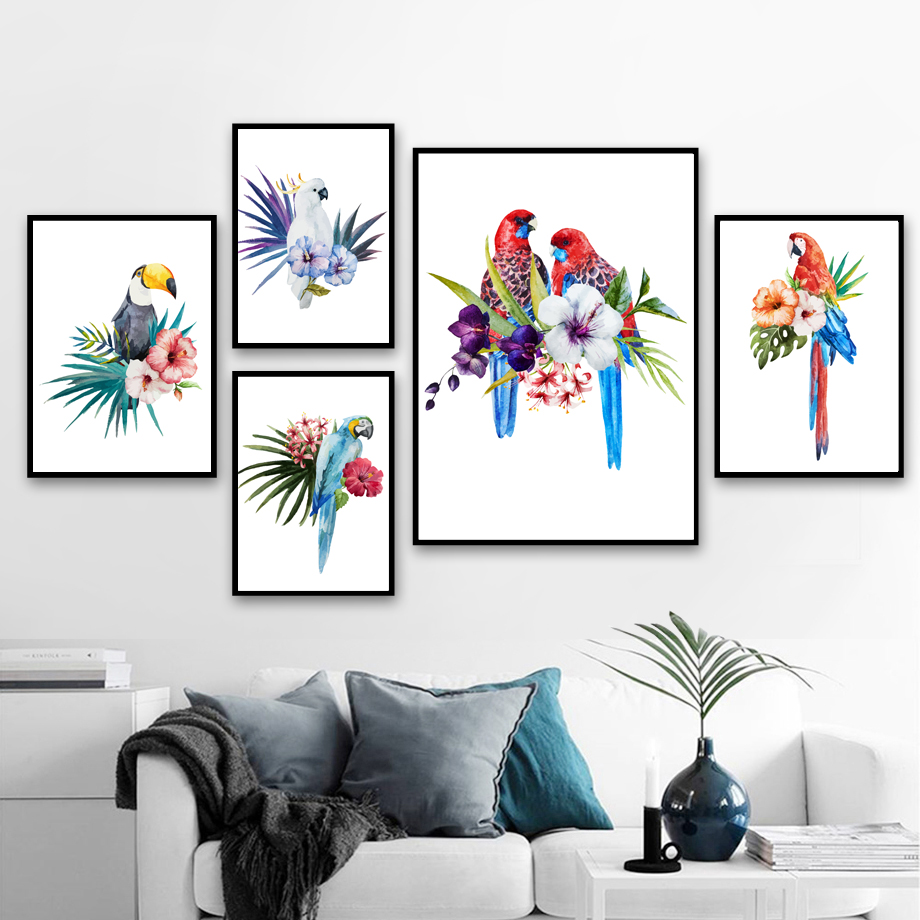 Watercolor Parrot Toucan Flower Wall Art Canvas Painting Nordic Poster And Print Animal Wall Pictures For Living Room Home Decor in Painting Calligraphy from Home Garden