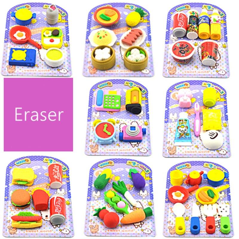 Cartoon Simulation Modeling Eraser Students Children's Day Kindergarten Graduation Gift Animal Fruit Kawaii Erasers For Kids