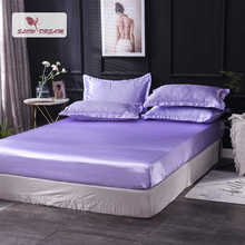 Slowdream 1 Piece Wholesale Luxury 100% Silk Lilac Fitted Sheet Elastic Band Mattress Cover Queen King Bed Sheets For Women Men slowdream 1 piece wholesale luxury 100% silk fitted sheet elastic band mattress cover queen king bed sheets for women men
