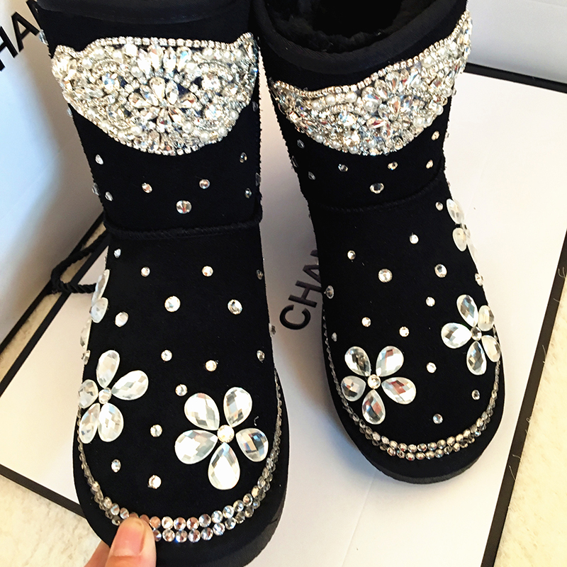 Free Shipping Handmade Rhinestone kids crystal baby girl's bling flowers Snow Boots children warm Shiny fashion Winter Shoes tassels feather crystal rhineston snow boots woman winter luxury women s bling bling snow boots warm shiny fashion winter shoes