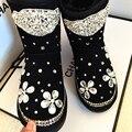 Free Shipping Handmade Rhinestone kids crystal baby girl's bling flowers Snow Boots children warm Shiny fashion Winter Shoes