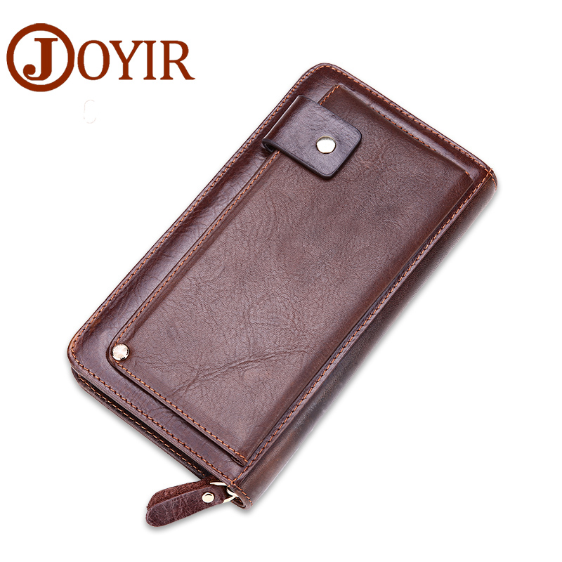 JOYIR New Genuine Leather Men Long Wallet Clutch Casual Money Card Holder Handbag Vintage Zipper Coin Purse Wallet For Man 9319 casual weaving design card holder handbag hasp wallet for women
