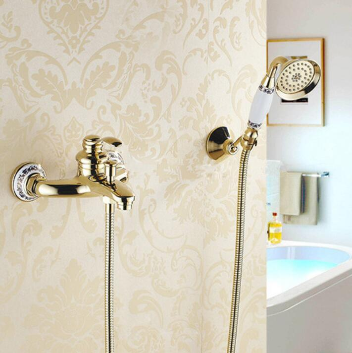 Bathtub Faucets Wall mounted Gold Shower Faucets For the Bath Solid Brass Bathroom Shower Crane without Slid Bar Mixer Tap Bathtub Faucets Wall mounted Gold Shower Faucets For the Bath Solid Brass Bathroom Shower Crane without Slid Bar Mixer Tap