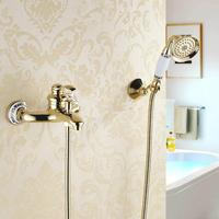 Bathtub Faucets Wall mounted Gold Shower Faucets For the Bath Solid Brass Bathroom Shower Crane without Slid Bar Mixer Tap