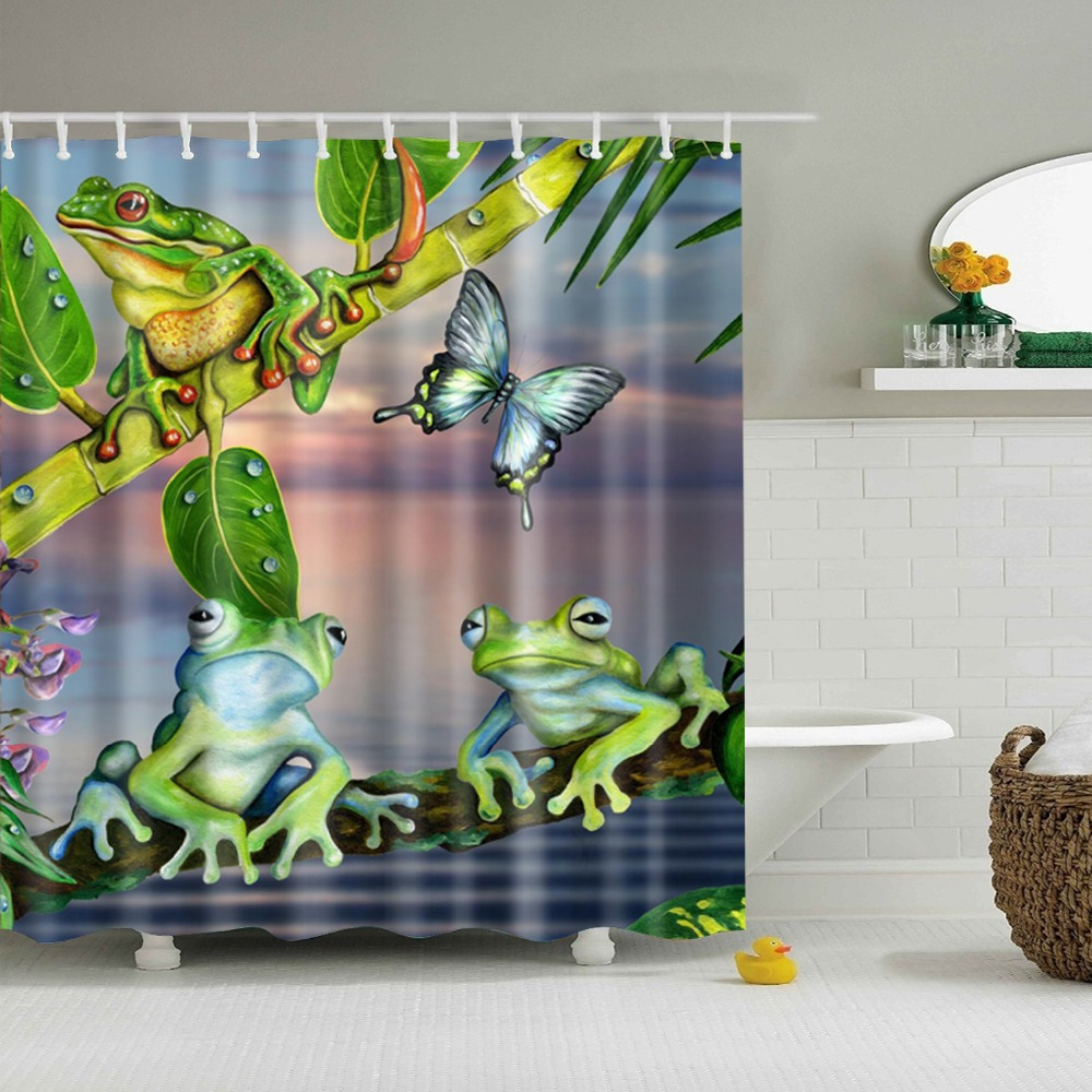 Frog Shower Curtain Cortina De Banheiro New Cheap Animal Cortina Ducha  Waterproof Shower Curtains(China