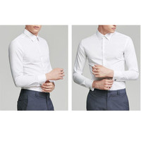 New French shirt men's long sleeved hot free slim business dress groom white shirt spring new fashion trend shirt
