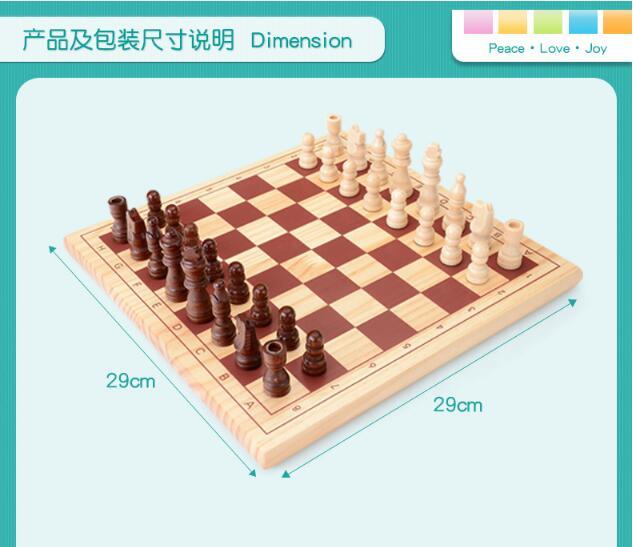 Échecs internationaux en bois et courants d'air jeu de famille d'échecs Parent-enfant jeu interactif jouets de peinture à l'eau saine pour bébé enfant - 5
