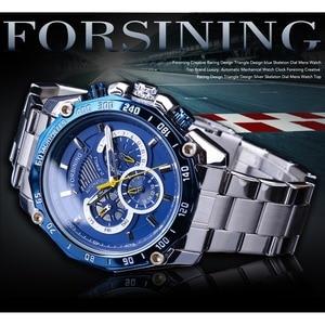 Image 2 - Forsining 2019 nowy niebieski projekt kompletna kalendarz 3 małe pokrętło srebrny ze stali nierdzewnej automatyczne mechaniczne zegarki dla mężczyzn zegar