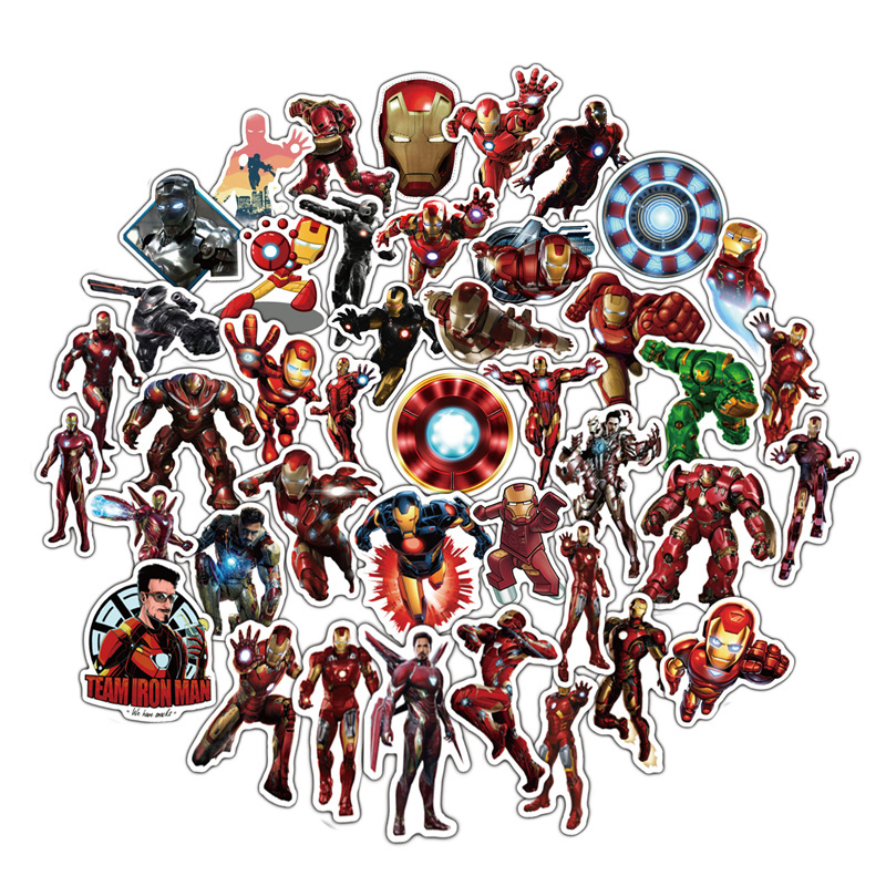 50pcs Ironman Stickers Waterproof Super Hero Character Tony Stark Avengers Sticker Kids Laptop Iron Man Toys For Children F4