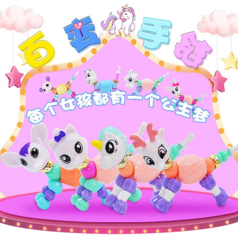 Pulseira Meninas Pulseira de Plástico Colorido Encanto Mágico dos desenhos animados Animal Pulseiras Contas Deformação Criativa Clássico Brinquedos Para As Crianças