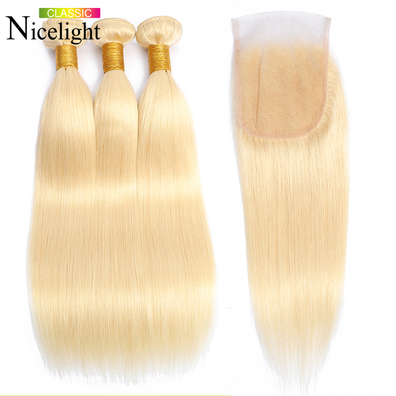 Straight Hair With Closure 613 Hair Bundles With Closure Blonde Closure With Bundles Nicelight Malaysian Human Hair Extensions image