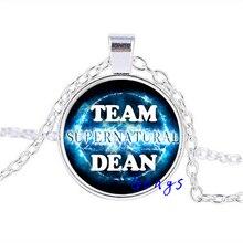 Hot New Design Team Dean Supernatural Necklace Pendant Fandom Jewelry Fashion27MM Round Pendant Choker Necklace HZ1