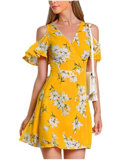 Plus Size Summer Dress 2018 Vintage Yellow floral print off shoulder Short  Sleeve Ruffles v neck Casual beach Women Dresses