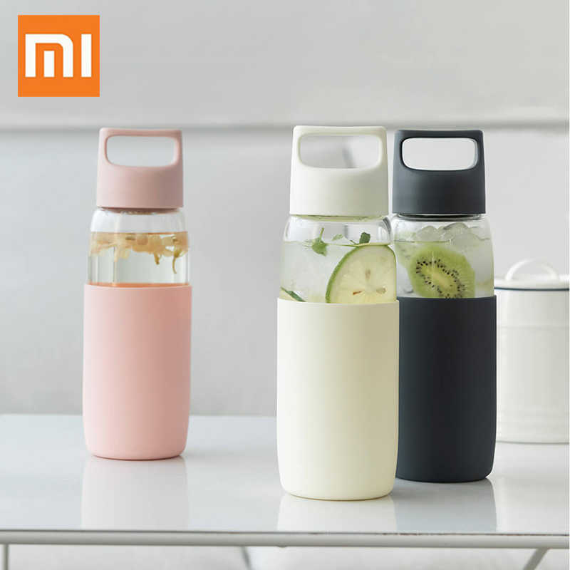 Xiaomi Fun Home Glass Cystal Water Bottle BPA Free Protein Shaker Gourde Tea Infuser Bottle My Drink Bottle .Bidon 500ML Tumbler