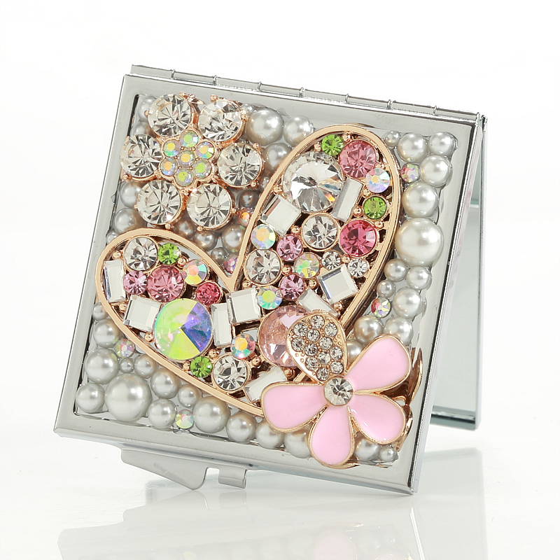 wedding party bridesmaid girl friend gift,bling crystal rhinestone heart flower,Beauty makeup compact pocket mini mirror