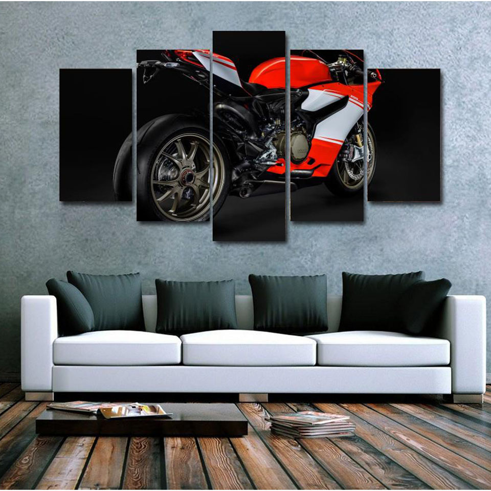 Canvas Modern Prints Painting Frame HD Printed 5 Panel Sports Motorcycle Home Decor Wall Art Pictures Poster Living Room PENGDA