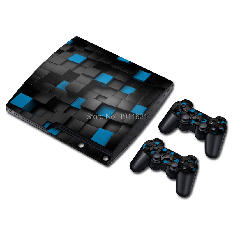 Cool Three-dimensional Black and Blue Grid Vinyl Decal Skin Sticker for Sony PlayStation 3 Slim Console & 2 Controller Skins