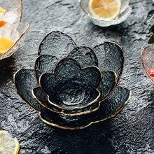 Элегантные Стеклянные салатные чаши с золотым рисунком для фруктов