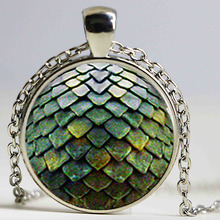 Wholesale Glass Dome green Necklace Pendant Color mermaid scales Necklace