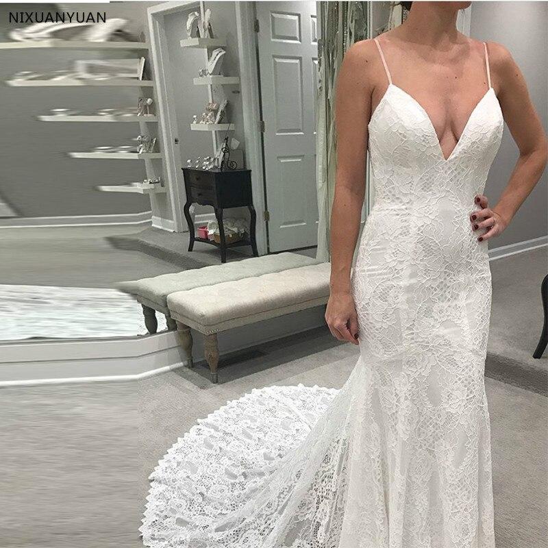 Spaghetti Straps White Ivory Vestido De Noiva V-neck Lace Chapel Train Bridal Gowns Mermaid Style Open Back Wedding Dresses
