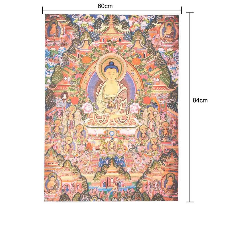 Tibetan Sakyamuni Medicine Buddha Embroidery Statue Silk Tangka Wall Art