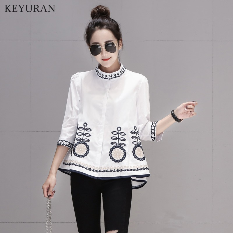 New Arrival 2020 Spring Autumn Ethnic Embroidery Women Shirts Stand Collar Three Quarter Sleeve Casual Loose Blouse Tops L3024 7