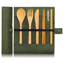 Travel-Cutlery-Set Utensils Zero-Waste-Fork Bamboo Flatware-Set Spoon with Pouch Camping