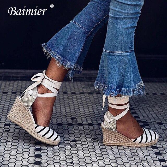 11190639404 US $26.88 48% OFF|Baimier Summer Canvas Striped Women Sandals Ankle Strap  Wedge Espadrilles Women Platform Sandals Lace Up Gladiator Sandals Women-in  ...