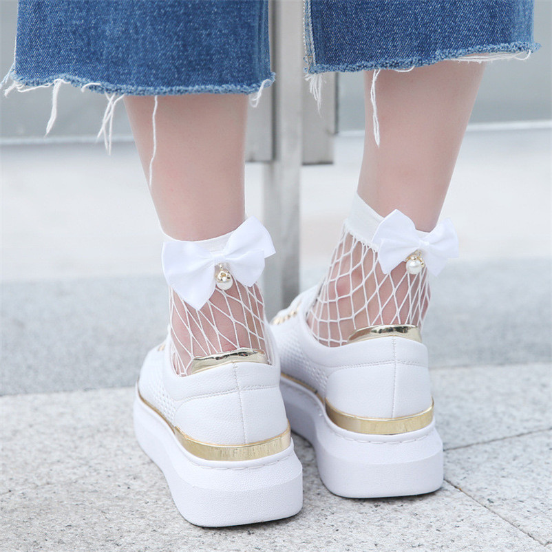 Solid Women Ruffle Fishnet Ankle High Socks Mesh Lace Fish Net Short Socks with Bow in Behind Two Color dropshipping 30AT3 10