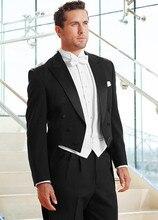 (Jacket+Pants+Vest+Tie) 2017 Fashionable Long Coat Black Men Tuxedos Men's Wedding Suits Handmade Men's Formal Prom Party Suits