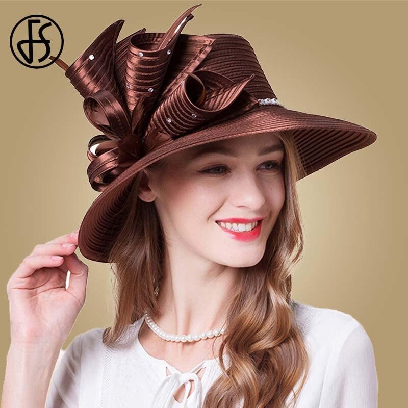 FS Brown Rose Fedora Hat Summer Big Brim Sun Hats Fascinators For Women Elegant church Wedding Party Kentucky Derby Boater Hat