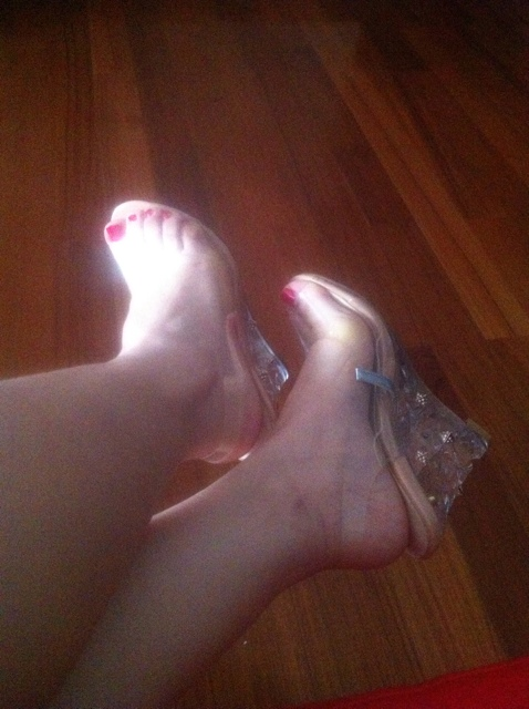 Abesire New Hot Women PVC Transparent Leather High Wedges Cinderella Crystal Wedding Dress Shoes Lady Peep Toe Slip on Sandals - 4
