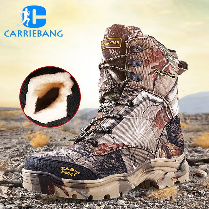 Новые уличные водонепроницаемые охотничьи сапоги камуфляжные зимние кроссовки зимние сапоги Плюшевые тактические мужские ботинки для взрослых прогулочная обувь