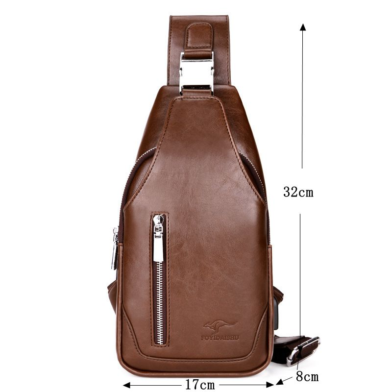 f4b9d8297e76 Brand Kangaroo Chest Bags For Men Shouder Bags Solid Men Chest Pack Fashion  Pu Leather Men Messenger Crossbody Bag M005-in Waist Packs from Luggage    Bags ...