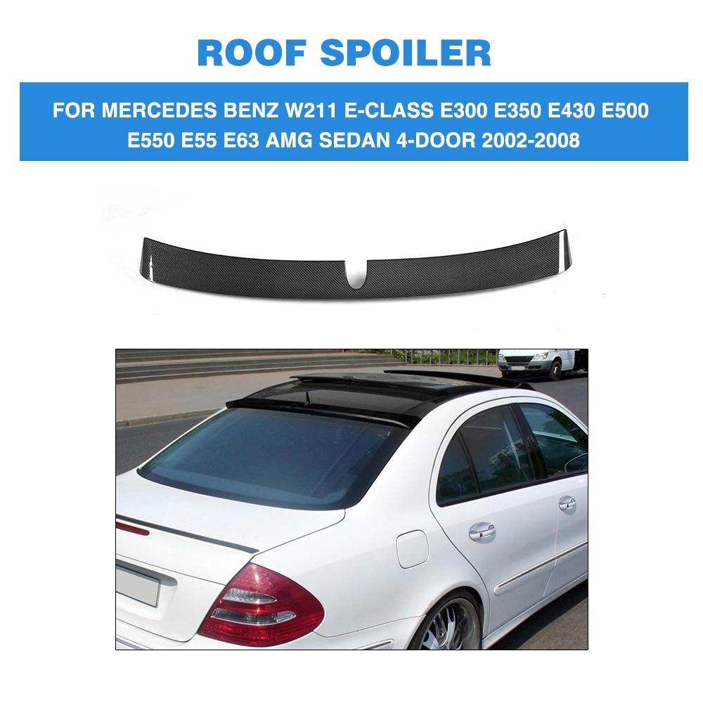 Carbon Fiber Rear Boot Wing Roof Spoiler For Mercedes Benz W211 E Class E300 E430 E55 E63 AMG Sedan 4 Door 02-08 FRP Unpainted for mercedes benz cla class w117 cla180 cla200 cla250 cla45 amg carbon fiber front lip splitter flap canard fits sporty car amg