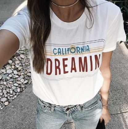 5c4f4d2ff hahayule California Dreamin Women Vintage Summer Cute Casual Loose Graphic  Tee Street Style Fashion Top Cool