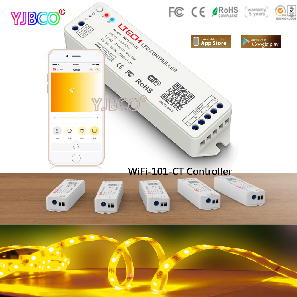LTECH WiFi-101-CT WiFi Color temperature LED Controller iphone APP DC12-24V input;6A*2CH output for double white led stripLTECH WiFi-101-CT WiFi Color temperature LED Controller iphone APP DC12-24V input;6A*2CH output for double white led strip