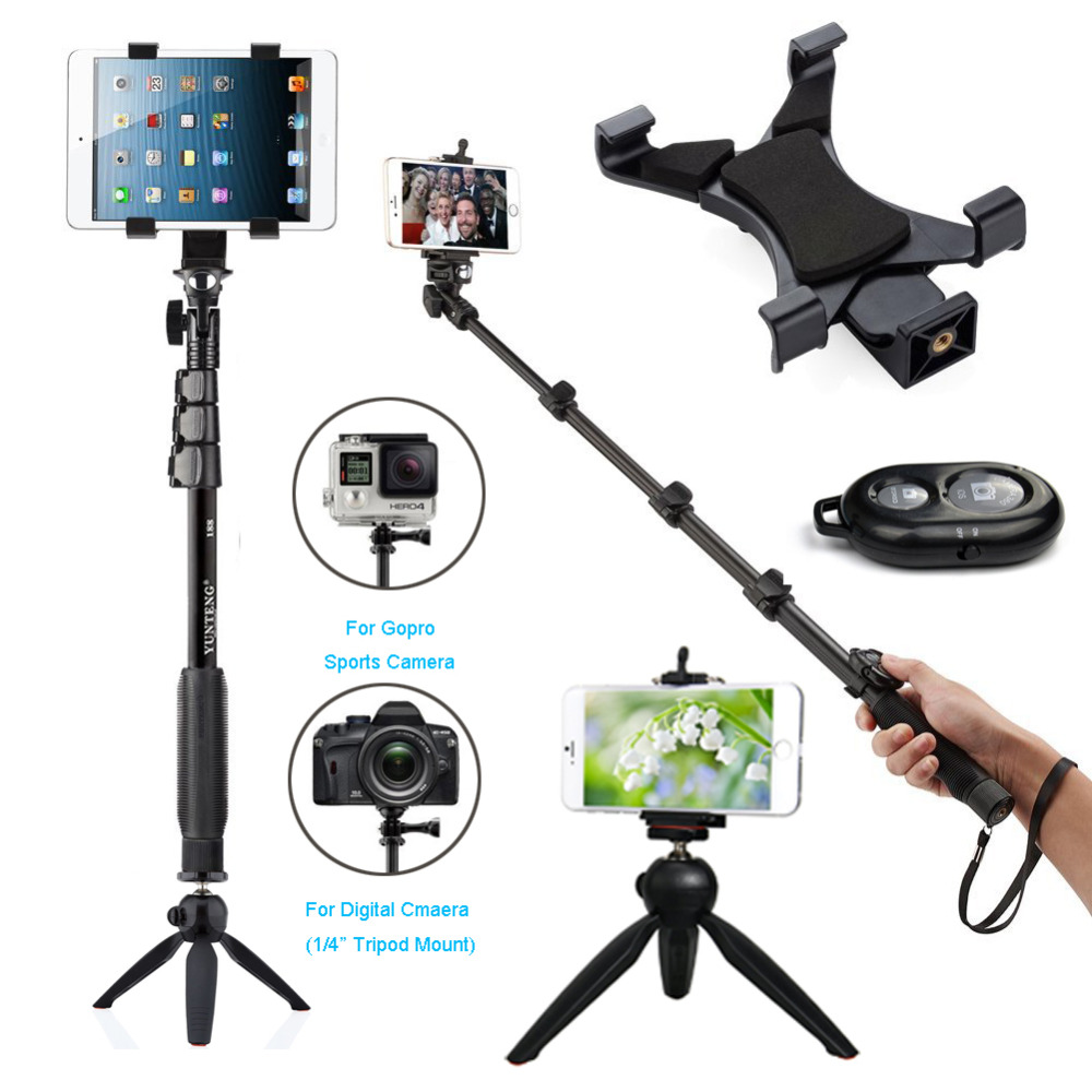 Camera Bluetooth Remote+Tablet PC Holder For Samsung TAB/For HP+Self Stick YUNTENG Tripod Monopod For Sony Z5 Z3 Z2/For Iphone 7