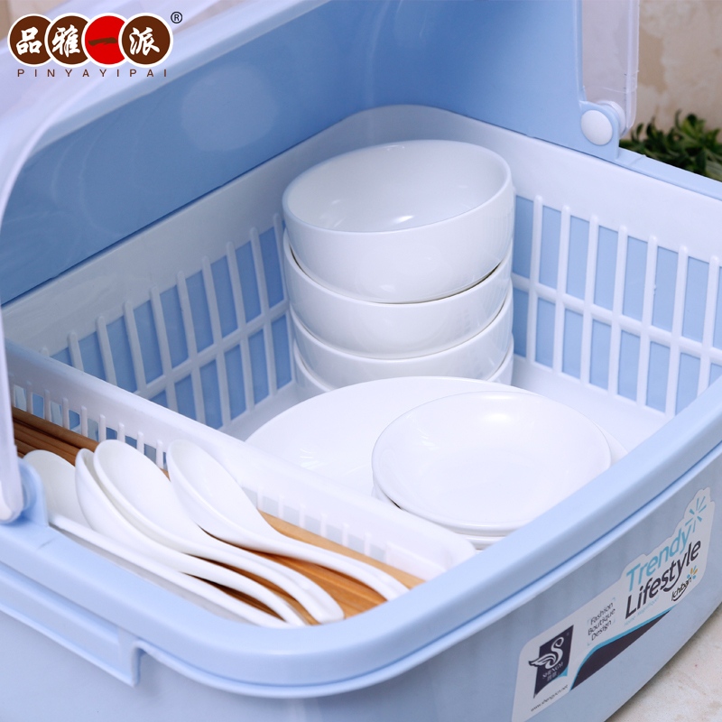 Drain Elegant Kitchen Cupboards Product Dish Rack Lid Plastic Storage Box To Put The Drip Shelving In Knives From Home Garden