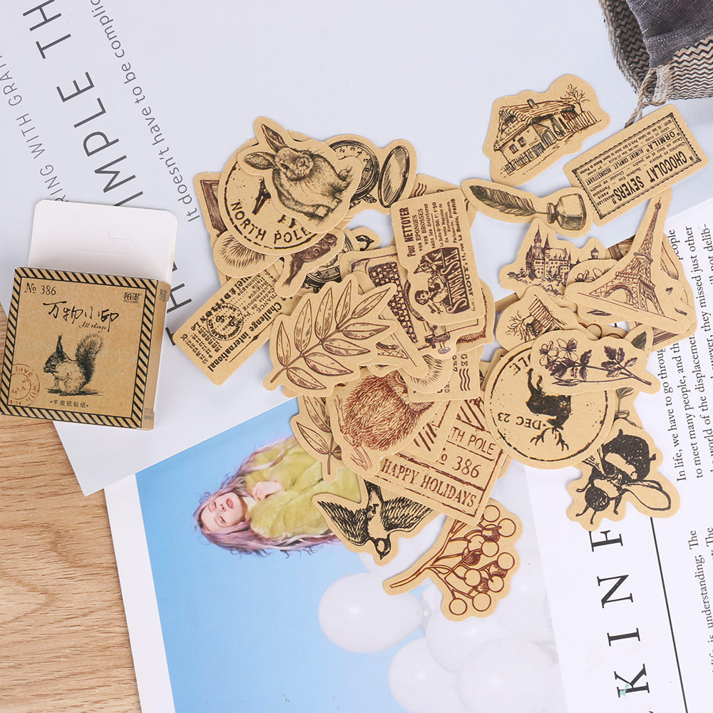 46Pcs Vintage Animal Sticker Squirrel Owl Leaves Photo ...