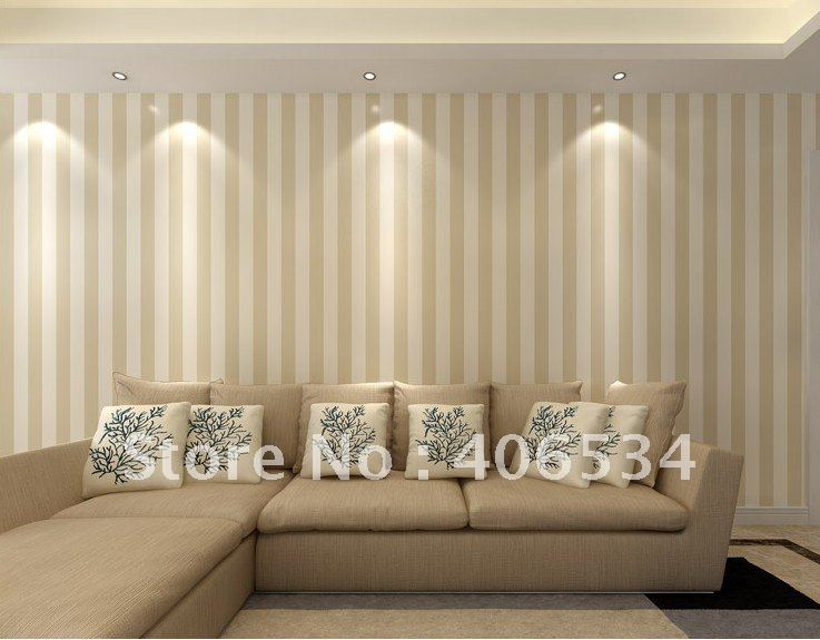 Simple Pinstripe Style Pvc Wall Paper