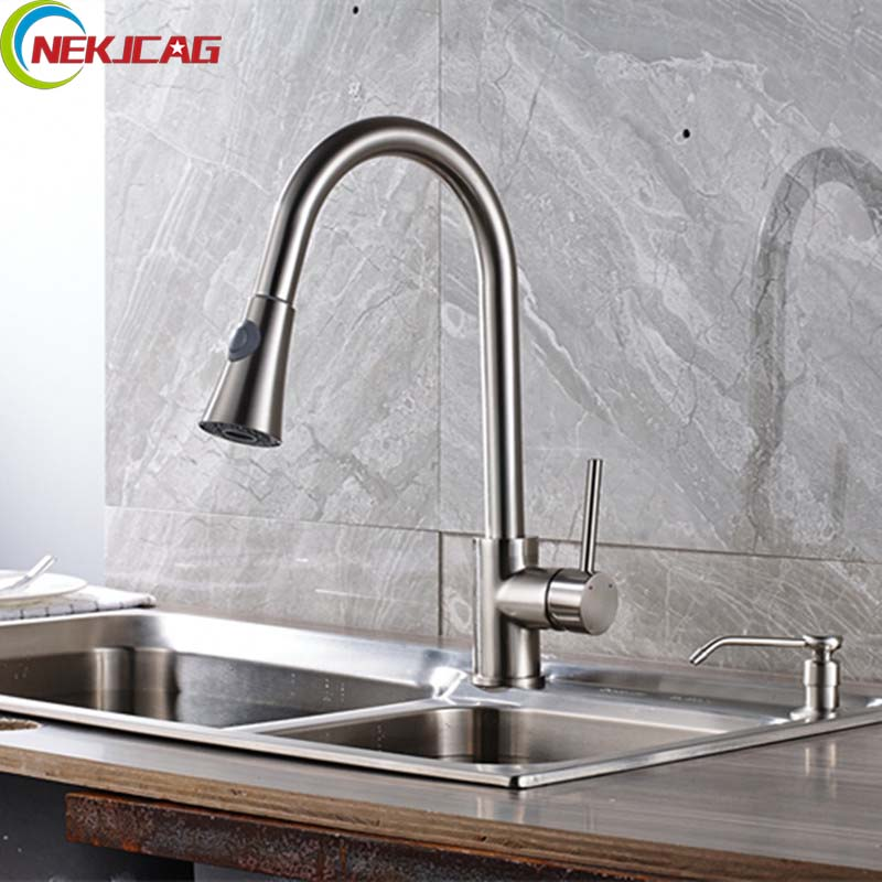Newly Deck Mounted Kitchen Faucet Single Handle Spray Pull Out Brushed Nickel Faucet