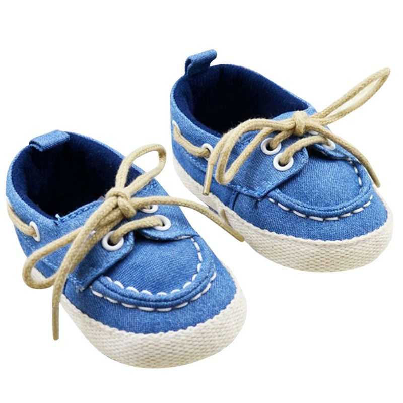 Kids Infant Baby Boys Girls Soft Soled Cotton Crib Shoes Laces Prewalkers New Arrival First Walkers