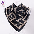 [BYSIFA] Spring Autumn Turkey Ladies Hijab Silk Scarf New Accessories Black Beige Dot Floral Square Scarves Winter Scarf Cape