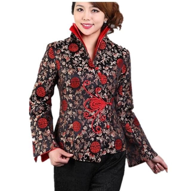 Soie Chaude Vente De Noir Satin Veste En Chinois Traditionnel 4Aw0xd4q
