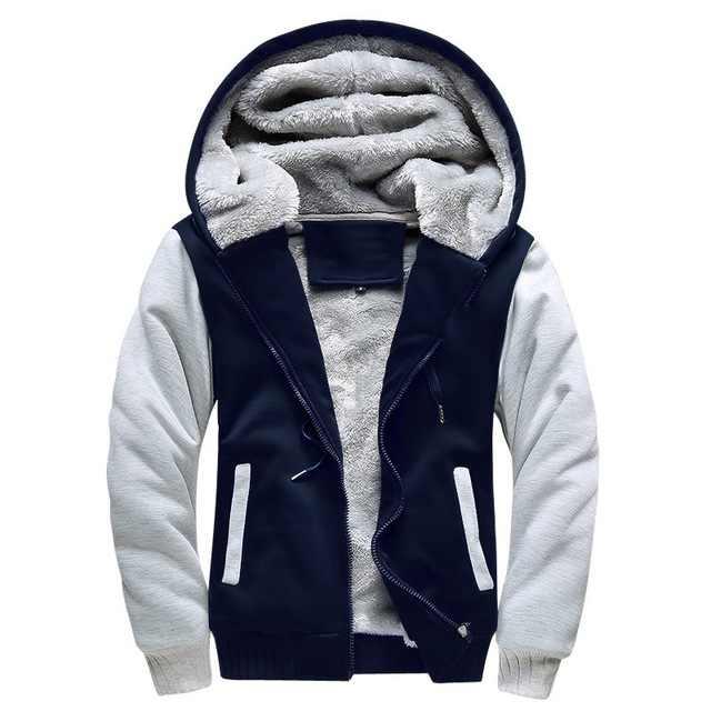 付きジャケット 2019 暖かい因果フリースフード付きの上着コート男性秋冬固体厚いジッパージャケット Casacos Masculino