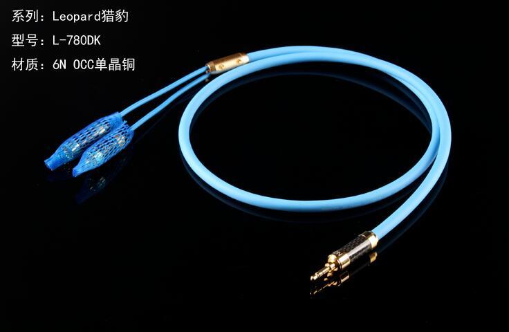 Câble audio d'ordinateur monocristallin 3.5mm 1 à 2 RCA