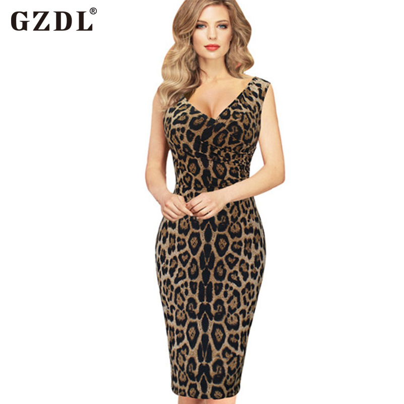 GZDL Sexy Women Ladies Summer Dresses Sleeveless Leopard Printed Bandage Bodycon Pencil Cocktail Clubwear Party Dress CL2633